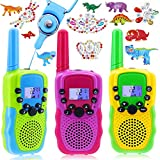 Kids' Walkie Talkies for Boys Girls, 3 Pack Walky Talky for Outdoor Handheld Two Way Radio for Hiking Camping,Gift Toys,Comes with a Set of 3 Dinosaur Diamond Stickers