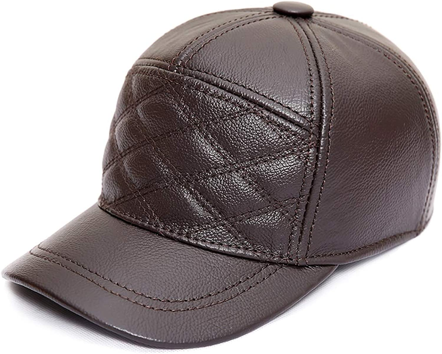 Baseball Cap Male Adult Leather Hat Autumn and Winter Warm Quilted Leather Cap Embroidered Checkered Earmuffs Artificial Plush Black, Brown