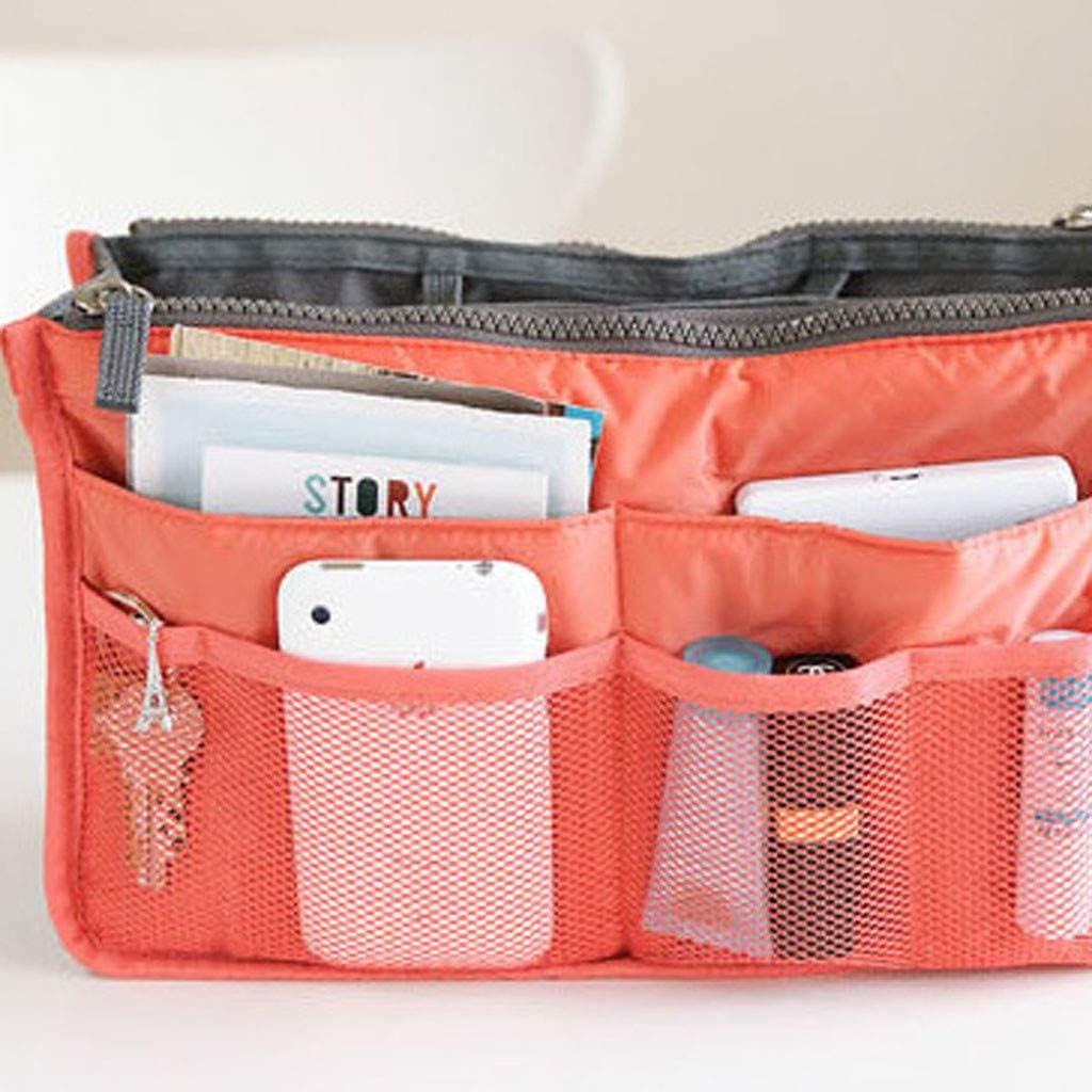 Large Travel Organiser Handbag,MELYKA Multifunctional Travel Comestic Bag,Portable Insert Purse Make Up Bag for Vacation Blue