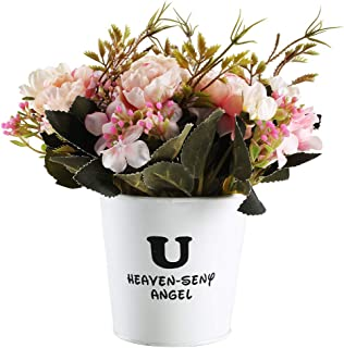 GTIDEA Artificial Potted Hydrangea in Retro Jug Vase Fake Silk Flower Bonsai for Home Office Bedroom Table Centerpieces Arrangements Decor