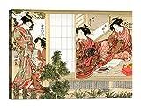 LuxHomeDecor Quadro Stampa su Tela con Telaio in Legno Shunsho Bellezze Giapponesi 70x50 CM