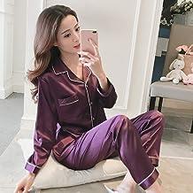 Sexy Nachthemd Voor Dames,Paars Katoen Satijn Casual Lange Mouw Button-Down Nachtkleding Zachte Lange Broek Loungewear Voo...