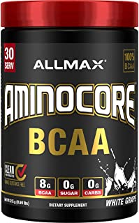 AMINOCORE BCAA – 8G BCAAs – 100% Pure Branch Chained Amino Acids – Gluten Free - White Grape - 315 Gram