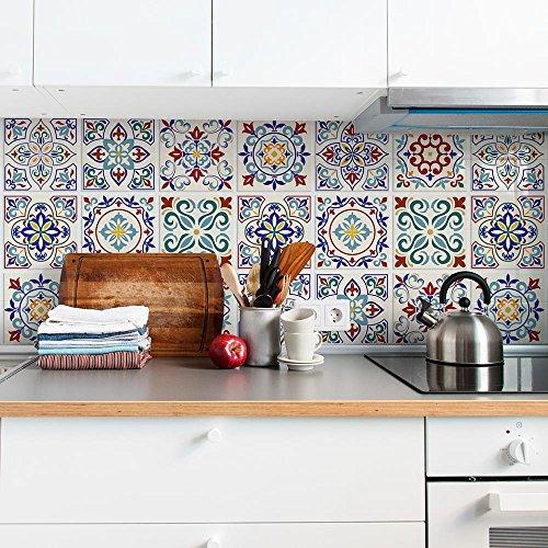 (Paquete de 12 Piezas) Adhesivos para Azulejos Formato 20x20 cm - Made in Italy - PS00027 Adhesivos de PVC Cancún para Diseño de Adhesivos para Azulejos de Baño y Cocina