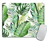 Green Tropical Palm & Fern Leaves Mouse Pad, Tropical Palm Leaves Mouse pad for Office Banana Leaf Jungle Mousepad
