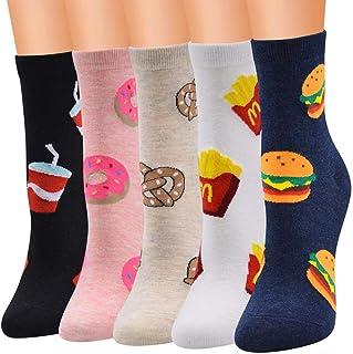 Jilibaba, Calcetines casuales de algodón, 6 pares, coloridos, divertidos, con estampado de fantasía para el invierno