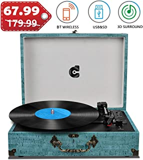 Record Player with Speakers Vinyl Record Player Wireless Turntables for Vinyl Records Suitcase Portable Record Player Vintage Record Player Turntable Support USB SD Vinyl Player