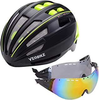 VEOBIKE One size Black Green Cycling Helmet Safety Women Men Ultralight Mountain Road Bike MTB Windproof 2 Glasses Bicycle...