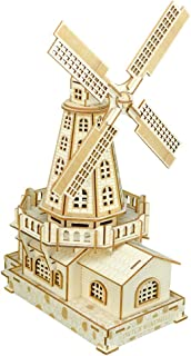 Oray168 3D Wooden Puzzles DIY Assembly Constructor Kit Toy for Kids Teens Adults, World Famous Buildings Mechanical 3-D Models Self-Painting(Dutch Windmill) #OF-A-G003