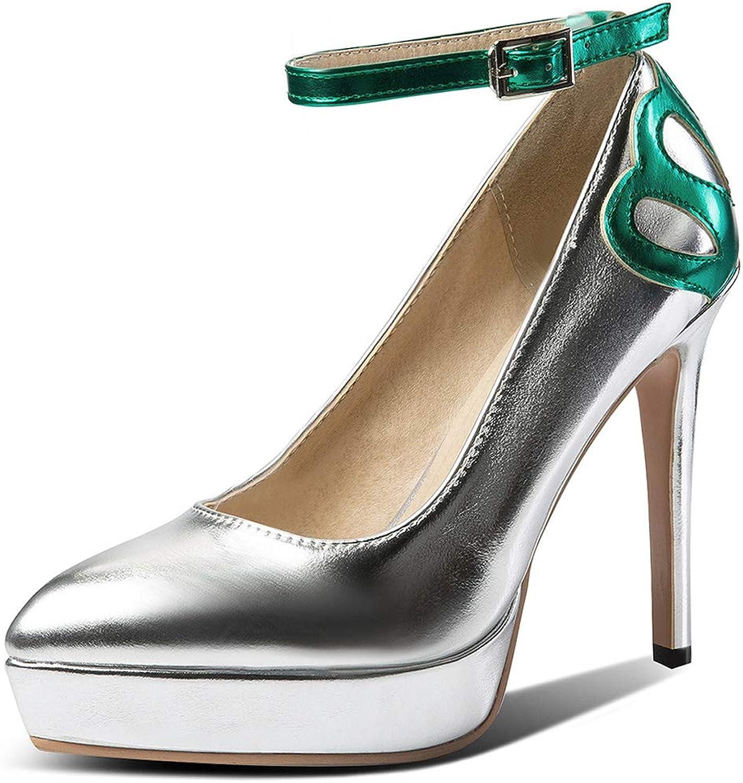SaraIris Women's Tigh High Heel Ankle Strap Buckle Strap Platform Party&Wedding Pumps