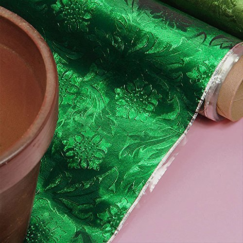 Premium Floral Foil Wrapping Paper - 20 Inches by 10 Yards (Emerald Green)