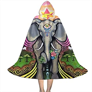 Mandala Hamsa Seeing Eye Kid's Long Hooded Cloak Cape Halloween Party Role Children Cosplay Costumes