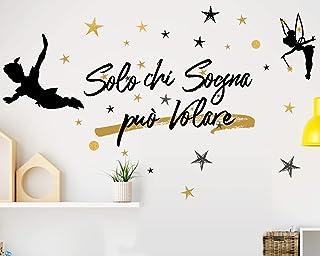 Adesivo Murale Wall Stickers Frase Citazione Adesivi Murali Decorazione interni Frase Solo chi sogna può volare Peter Pan ...