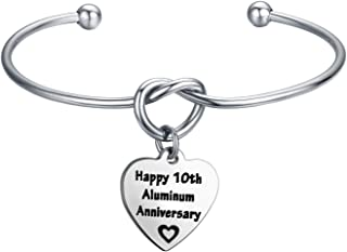 10th for Her Happy 10th Aluminum Anniversary Love Knot Bangle Bracelet 10th Year Wedding Anniversary Present Idea