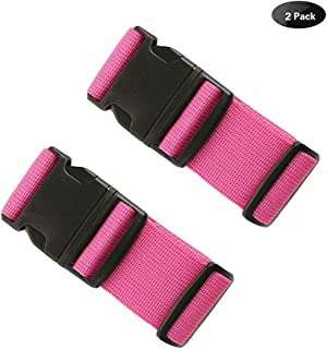 Travel Luggage Tags Travel ID Tag with Adjustable Cross Luggage Strap Travel Accessories for Suitcase Belt Bag, Rose Red