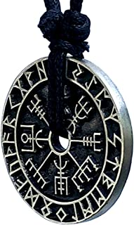 Icelandic Viking Jewelry Vegvísir wayfinder Coin Guidepost Safe Travel Compass Prevent from getting lost Protection Amulet...