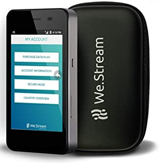 We.Stream Premium Mobile WiFi Hotspot for International Travelers - 100 GB US Data - Data 6 months valid - Multiple US networks - 150+ Countries - MiFi - Touch Screen - 4G LTE - Powerbank