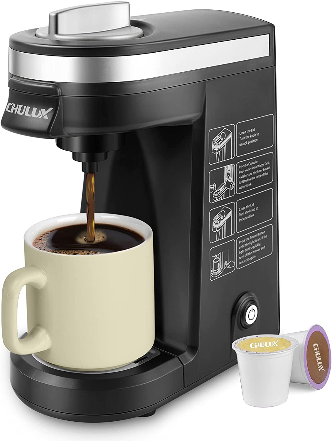 CHULUX Gorgeous Single Serve Coffee Maker Today's only Capsule w Cup Brewer for