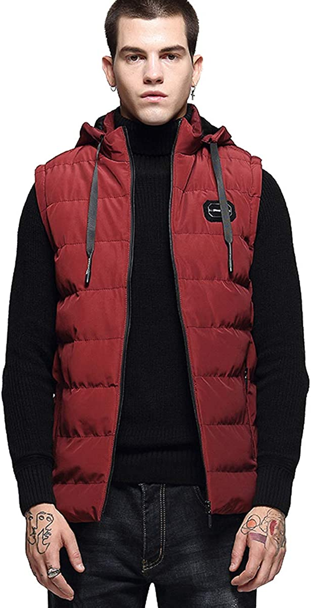 ELEFINE Men's Zip Quilted Padding Puffer Vest with Removable Hooded Boys Winter Travel Outwear Jacket-Zip Pocket