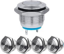 Larcele JSANKG-01 Drukknop, waterdicht, metaal, mini-drukknopen, 16 mm, Momentan, herbruikbaar, 5 stuks