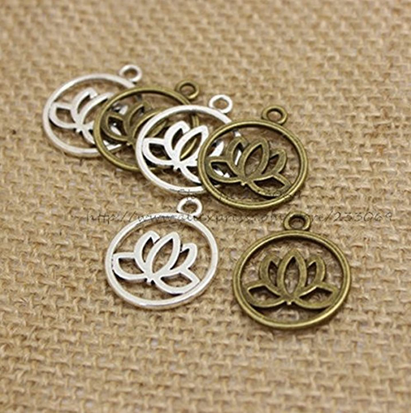 24 Flower Charms (12 Silver 12 Bronze) of Antique Bronze Lotus Flower Charm Pendant 20mm (CB068)