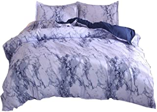 YOUSA Marble Duvet Cover Set Blue Marble Bedding Set with Zipper Twin,Blue