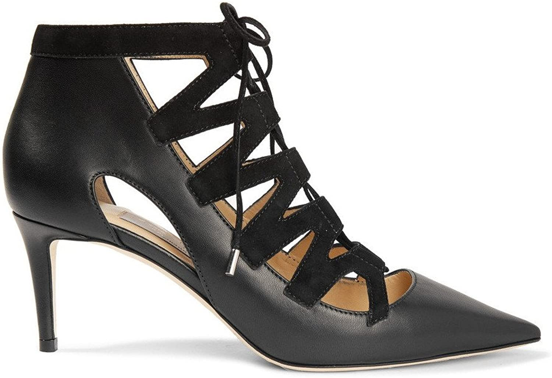 Zandina Women's Handmade Crosscriss Lace Up Mid-heel Party Pumps shoes