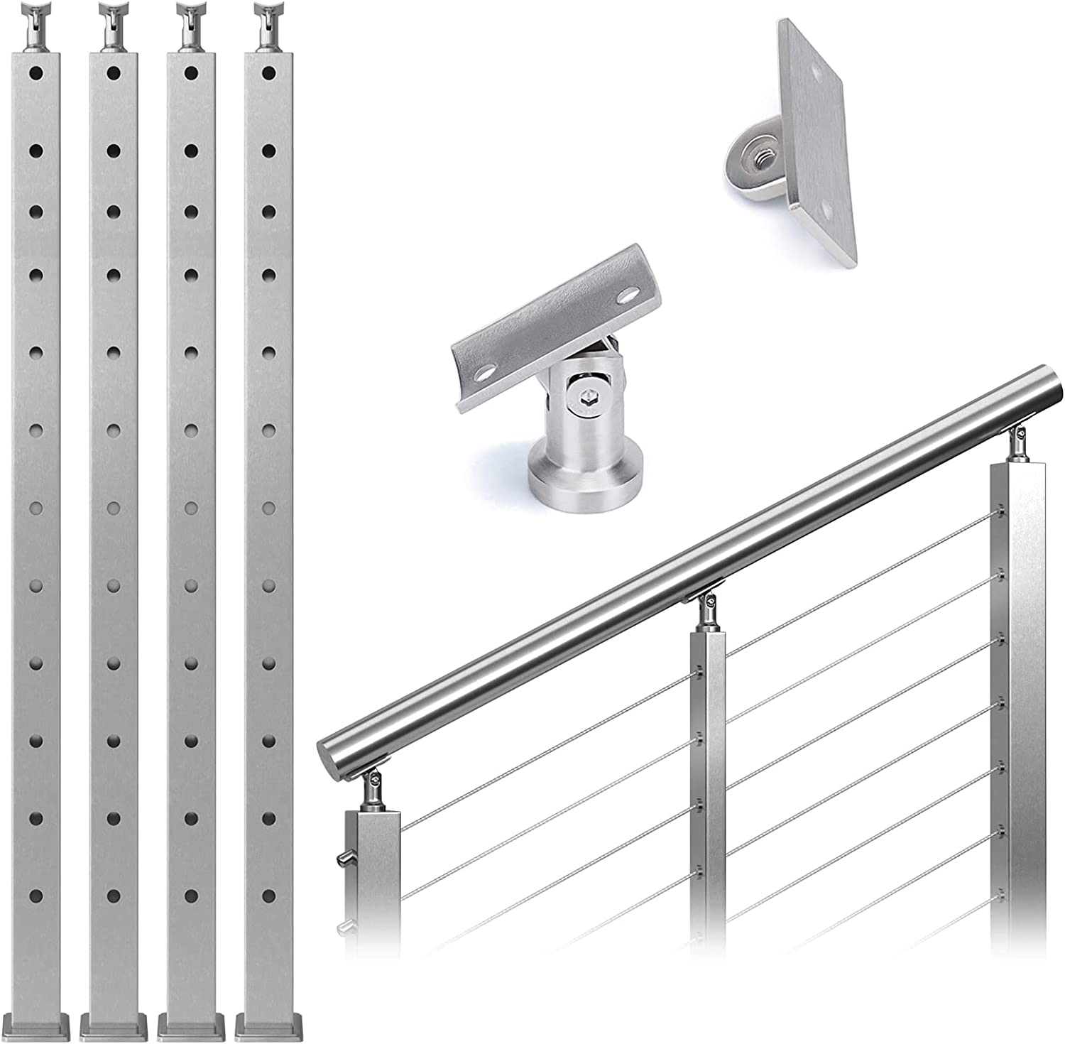 """Muzata Rare 4Pack Cable Railing 42""""x2""""x2"""" S Stair Post OFFer"""