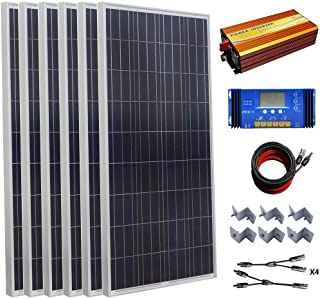 ECO-WORTHY 900W Polycrystalline 24v Off Grid Solar Panel Kit:6pcs 150W Poly Solar Panels+45A Charge Controller+1500W Pure Sine Wave Inverter+Solar Cable+MC4 Branch Connectors+Mounting Z Brackets