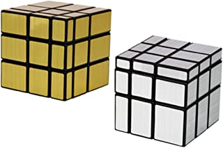 "Shengshou Square Mirror Speed Cube Puzzle Golden and Silver, 3"" L x 3"" W x 3"" H, 2 Count"