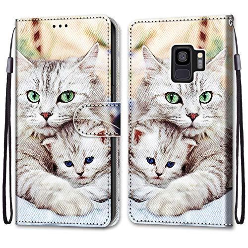 Nadoli Handyhülle Leder für Samsung Galaxy S9,Bunt Bemalt Niedlich Katze Trageschlaufe Kartenfach Magnet Ständer Schutzhülle Brieftasche Ledertasche Tasche Etui