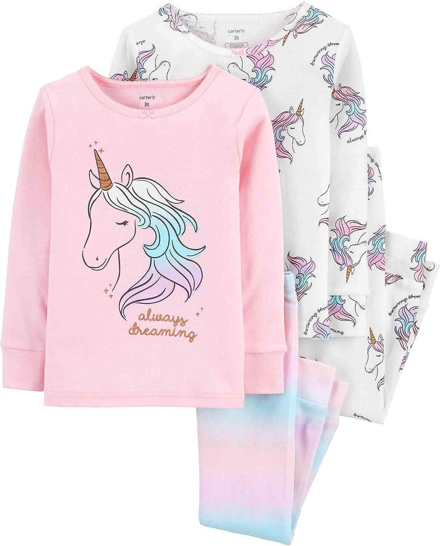 Carter's Baby & Toddler Girls' 4-Piece Snug Fit Cotton PJs (Pink Always Dreaming, 2T)