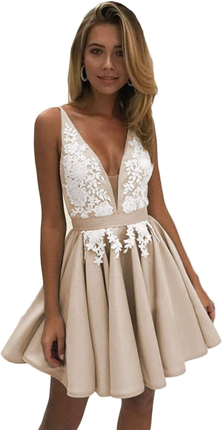 Scarisee Womens VNeck Lace Appliqued Short Homecoming Prom Party Gowns Straps77