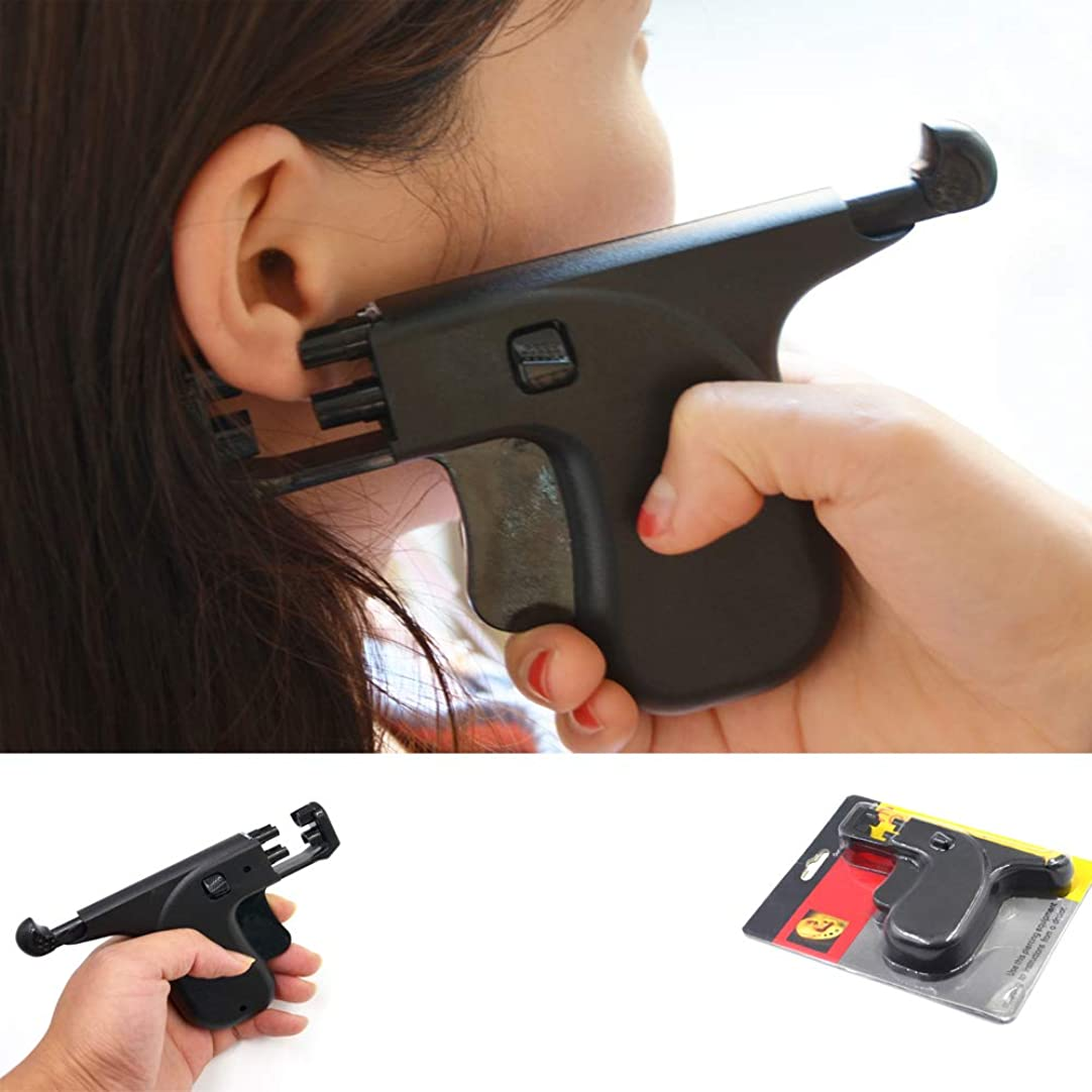 バイソン流バックアップ98ピアスメタルイヤースタッド、プロの再使用可能な耳鼻穿刺ツールキット、安全痛みのないイヤリングピアスとセット耳ピアスガン
