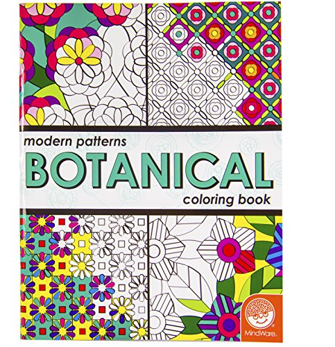 MindWare – Modern Patterns Botanical Coloring Book – 24 Unique Puzzles – Teaches Creativity and Fosters Imagination