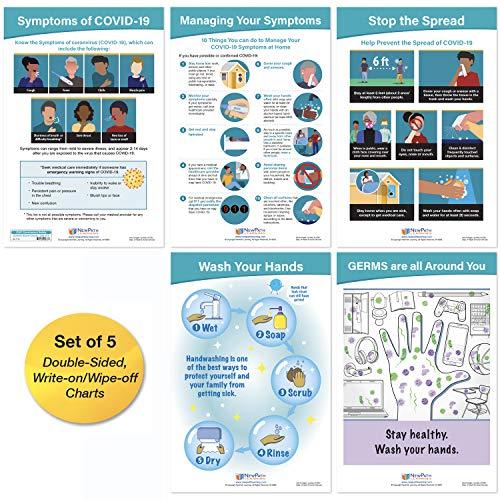 NewPath Learning CDC Coronavirus Safety Signs - English & Spanish - Set of 5