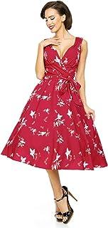 Looking Glam Retro Vintage 1950's Pin Up Swing Dress in Bird Print