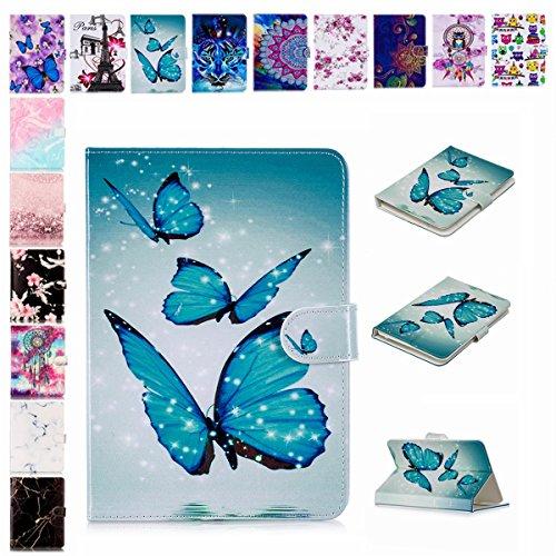 E-Mandala Universal 7 Zoll Hülle Etui Flip Hülle Leder Wallet Cover Tablet PC Tasche mit Kartenfach Klapphülle Ledertasche Lederhülle - Blauer Schmetterling
