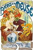 1art1 Alphonse Mucha - Cervezas De Mosa, 1897 Póster Impresión Artística (180 x 120cm)