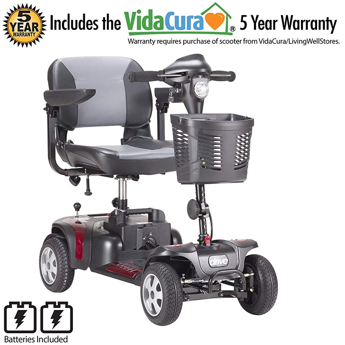 """Phoenix 4-Wheel Heavy Duty Scooter by Drive Medical, Includes 5 Year Extended Warranty (17.5"""" x 17"""" Seat)"""