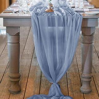 Socomi Chemin de table en mousseline de soie bleu 73 x 308 cm
