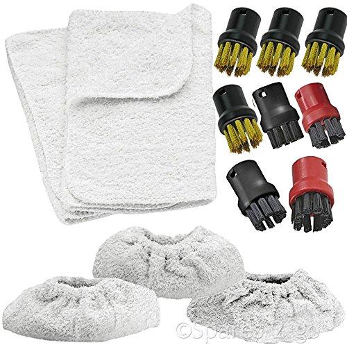 Spares2go Outils buses, éponges, rembourrage de protection, brosse en nylon et fil de laiton pour nettoyeurs vapeur Karcher