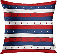 Golee Throw Pillow Cover Flag Red White and Blue Striped Patriotic with Stars Abstract Design for 4Th America Decorative Pillow Case Home Decor Square 18x18 Inches Pillowcase