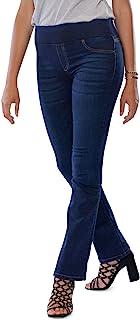 MAMAJEANS Amalfi - Jeans Donna Bootcut, Comodissima Cintura con Elastico, Senza Bottone. Vita Alta, Svasato a Zampetta Ide...