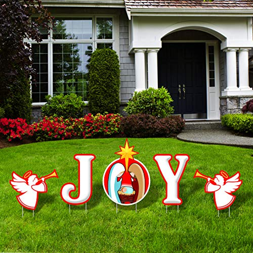 Bigtime Signs Joy Nativity Scene Sign - Outdoor Christmas Decorations Yard Lawn Sign with Step Stake - 17 inch High Letters - Sturdy Corrugated Plastic - for Church, Home, Businesses, Stores, Parties