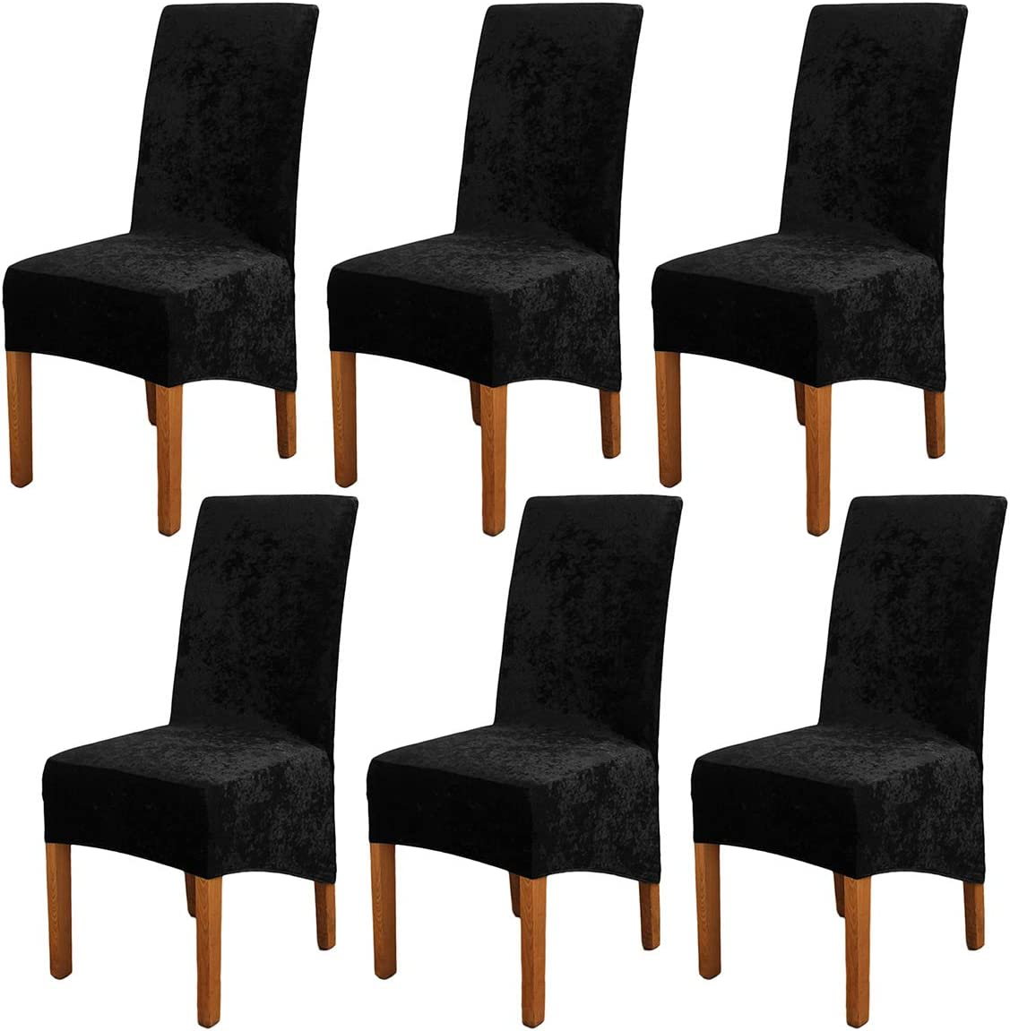 Mingfuxin Crushed Velvet XL Dining Chair Covers,2//4//6 Pack Stretch Chair Protective Slipcover,Elastic Chair Protector Seat Covers for Dining Room Wedding Banquet Party Decoration 4 Pack, Champagne