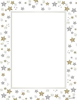 Stars & Swirls Design Paper, Letter Size, White, 40 Sheets