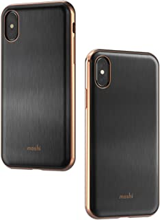 Moshi iGlaze Stylish Slim case for iPhone Xs/iPhone X Fit Lightweight Snap-On Hybrid Drop Protection (Black)