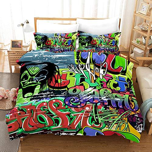AHKGGM Duvet cover set Double Graffiti de calavera de color Bedding 3 pcs Microfiber duvet cover 79x79 inch with zipper closure And 2 pillowcases 20x30 inch -for adults and children's bedrooms