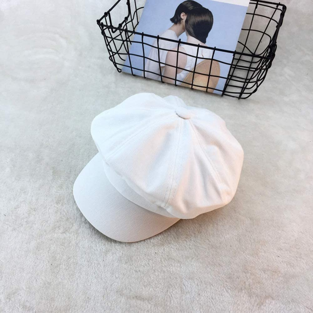 Hat Female Cap Male England Summer Octagonal Cap Literary Retro Newspaperboy Hat Outdoor Beret Accessories (Color : White)